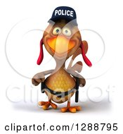 Clipart Of A 3d Brown Police Chicken Walking Royalty Free Illustration