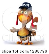 Clipart Of A 3d Brown Police Chicken Presenting Royalty Free Illustration