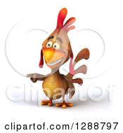 Clipart Of A 3d Brown Chicken Pointing To The Left Royalty Free Illustration