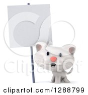 Clipart Of A 3d White Kitten Under A Blank Sign Royalty Free Illustration