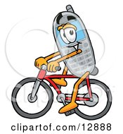 Wireless Cellular Telephone Mascot Cartoon Character Riding A Bicycle