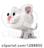 Clipart Of A 3d White Kitten Facing Left Royalty Free Illustration