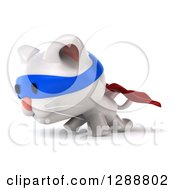Clipart Of A 3d White Super Kitten Walking To The Left Royalty Free Illustration