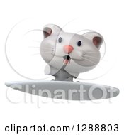 Clipart Of A 3d White Kitten Surfing Royalty Free Illustration