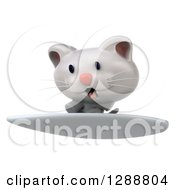 Clipart Of A 3d White Kitten Surfing 2 Royalty Free Illustration