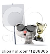 Clipart Of A 3d White Kitten Wearing Sunglasses And Holding A Trophy By A Blank Sign Royalty Free Illustration