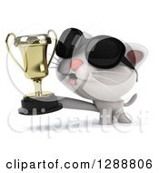 Clipart Of A 3d White Kitten Wearing Sunglasses Facing Left And Holding A Trophy Royalty Free Illustration