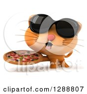 Clipart Of A 3d Ginger Cat Wearing Sunglasses And Holding A Pizza Royalty Free Illustration by Julos