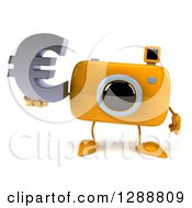 Clipart Of A 3d Yellow Camera Character Holding A Euro Currency Symbol Royalty Free Illustration