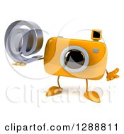 Clipart Of A 3d Yellow Camera Character Shrugging And Holding An Email Arobase At Symbol Royalty Free Illustration