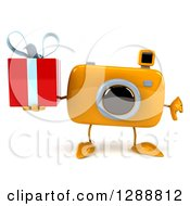 Clipart Of A 3d Yellow Camera Character Holding A Thumb Down And A Gift Royalty Free Illustration