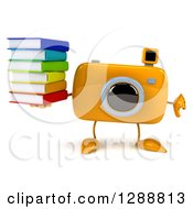 Clipart Of A 3d Yellow Camera Character Holding A Thumb Down And A Stack Of Books Royalty Free Illustration