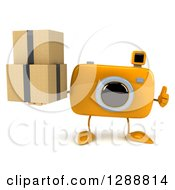 Clipart Of A 3d Yellow Camera Character Giving A Thumb Up And Holding Boxes Royalty Free Illustration