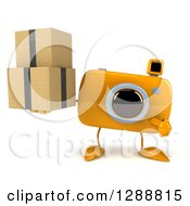 Clipart Of A 3d Yellow Camera Character Holding And Pointing To Boxes Royalty Free Illustration by Julos