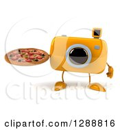 Clipart Of A 3d Yellow Camera Character Holding A Pizza Royalty Free Illustration by Julos