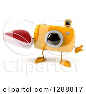 Clipart Of A 3d Yellow Camera Character Shrugging And Holding A Beef Steak Royalty Free Illustration by Julos