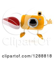 Clipart Of A 3d Yellow Camera Character Jumping And Holding A Beef Steak Royalty Free Illustration by Julos