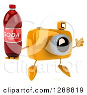 Clipart Of A 3d Yellow Camera Character Facing Slightly Right Jumping And Holding A Soda Bottle Royalty Free Illustration by Julos