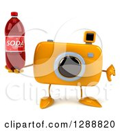 Clipart Of A 3d Yellow Camera Character Holding A Thumb Down And A Soda Bottle Royalty Free Illustration by Julos