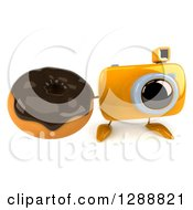 Clipart Of A 3d Yellow Camera Character Holding Up A Chocolate Frosted Donut Royalty Free Illustration by Julos