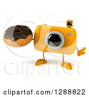 Clipart Of A 3d Yellow Camera Character Shrugging And Holding A Chocolate Frosted Donut Royalty Free Illustration by Julos