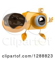 Clipart Of A 3d Yellow Camera Character Facing Slightly Right Jumping And Holding A Chocolate Frosted Donut Royalty Free Illustration by Julos