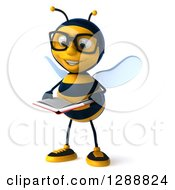 Clipart Of A 3d Bespectacled Bee Character Facing Slightly Left Reading A Book And Smiling Royalty Free Illustration