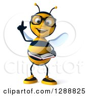 Clipart Of A 3d Bespectacled Bee Character Holding Up A Finger And Reading A Book Royalty Free Illustration