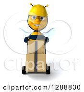 Clipart Of A 3d Construction Bee Character Moving Boxes On A Dolly Royalty Free Illustration