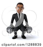 Clipart Of A 3d Young Black Businessman Squatting With Dumbbells Royalty Free Illustration