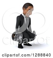 Clipart Of A 3d Young Black Businessman Facing Slightly Right And Squatting With Dumbbells Royalty Free Illustration