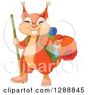 Clipart Of A Cute Presenting Squirrel In Hiking Gear Royalty Free Vector Illustration by Pushkin