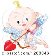 Clipart Of A Cute Blond White Baby Cupid Flying With A Heart Arrow Royalty Free Vector Illustration by Pushkin