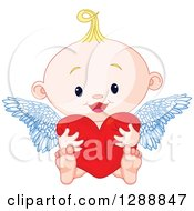 Clipart Of A Cute Blond White Baby Cupid Hugging A Heart Royalty Free Vector Illustration