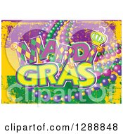 Clipart Of A Grungy Purple Yellow And Green Mardi Gras Flag Background With Text And Beads Royalty Free Vector Illustration by Pushkin