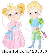 Clipart Of A Cute Blond Caucasian Prince Holding A Flower Behind His Back And Looking At A Bashful Princess Royalty Free Vector Illustration by Pushkin
