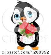 Clipart Of A Cute Romantic Valentines Day Penguin Holding A Rose Bouquet Royalty Free Vector Illustration