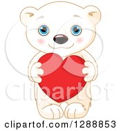 Cute Valentines Day Polar Bear Cub Holding A Red Heart