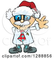 Clipart Of A Cartoon Happy Albert Einstein Scientist Wearing A Christmas Sant Hat And Waving Royalty Free Vector Illustration by Dennis Holmes Designs