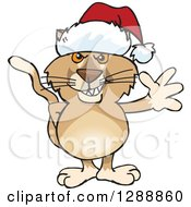 Cartoon Happy Puma Wearing A Christmas Sant Hat And Waving
