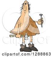 Hairy Caveman Holding A Nail And Hammer