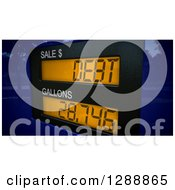 Clipart Of A 3d Gas Pump Putting People Into Debt From Expensive Gas Over A Blue Map Royalty Free Illustration