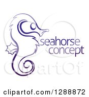 Clipart Of A Dark Blue Sketched Seahorse In Profile With Sample Text Royalty Free Vector Illustration by AtStockIllustration
