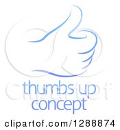 Clipart Of A Gradient Blue Hand Giving A Thumb Up Over Sample Text Royalty Free Vector Illustration