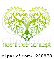Clipart Of A Gradient Green Heart Shaped Tree With Roots And Leafy Branches Over Sample Text Royalty Free Vector Illustration