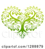 Clipart Of A Gradient Green Heart Shaped Tree With Roots And Leafy Branches Royalty Free Vector Illustration by AtStockIllustration
