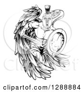 Clipart Of A Black And White Spartan Trojan Warrior Guardian Angel With A Sword And Shield Royalty Free Vector Illustration