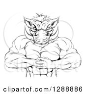 Clipart Of A Black And White Muscular Aggressive Boar Man Mascot Gesturing Bring It Royalty Free Vector Illustration