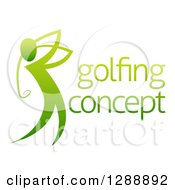 Clipart Of A Gradient Green Man Golfing With Sample Text Royalty Free Vector Illustration by AtStockIllustration