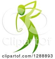 Clipart Of A Gradient Green Man Golfing Royalty Free Vector Illustration by AtStockIllustration